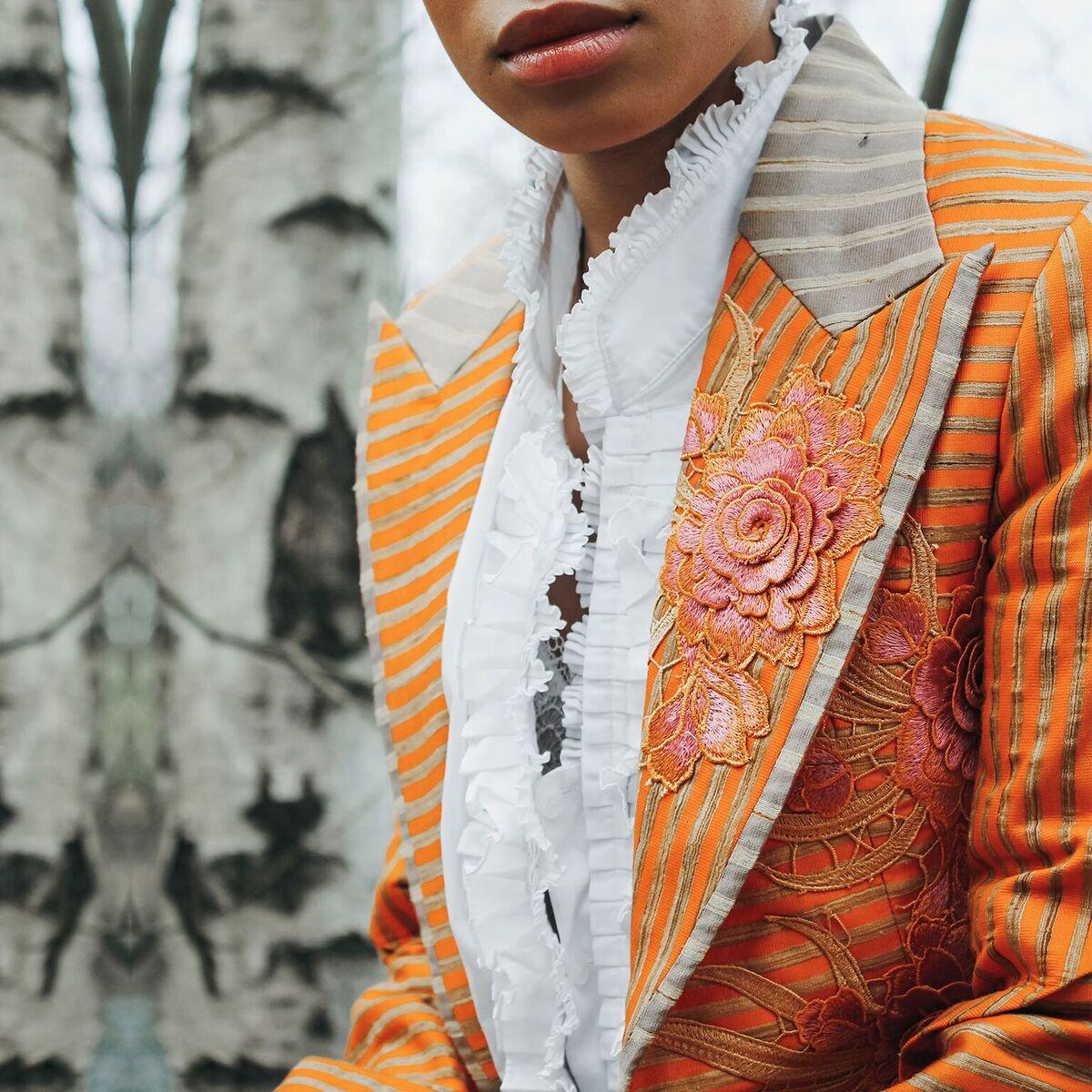 Home Design Photos House Design Indian House Design New: Silk Orange Stripes Suit. (Jacket With Trouser)